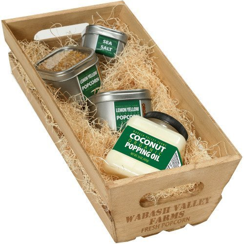 Wabash Valley Farms 45077 Organic Popcorn Wooden Crate Gift Set