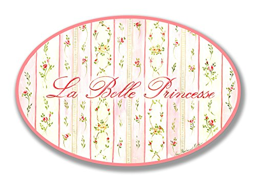 The Kids Room by Stupell La Belle Princesse Pink Floral Oval Wall Plaque, 10 x 0.5 x 15, Proudly Made in USA Van Belle Nursery Christmas