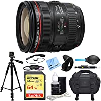 Canon EF 24-70mm F/4L IS USM Standard Zoom Lens Deluxe Accessory Bundle includes Lens, 64GB Extreme SD Memory Card, Tripod, 77mm Filter Kit, Lens Hood, Bag, Cleaning Kit, Beach Camera Cloth and More
