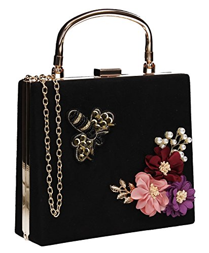 Vintage Prom Suede Box Thea Bee Floral Womens Black Party SWANKYSWANS Bag Clutch ASqwIq7