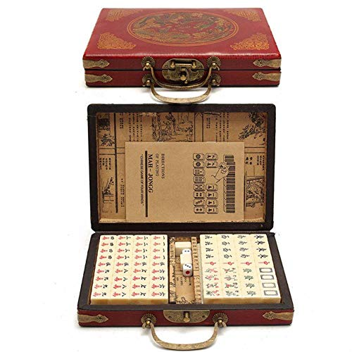 Dorrisi Imported Chinese Mahjong -144 PCS Travel Mahjong Portable Mahjong with Antique Leather Case and Manual English - Chinese Style Game
