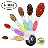 Prodigen Magnetic Stainless Steel Measuring Spoons Set -6 Metal Accurate Spoons for Measuring Dry and Liquid Ingredients Teaspoon&Tablespoon for Home,Kitchen,Baking,Cooking