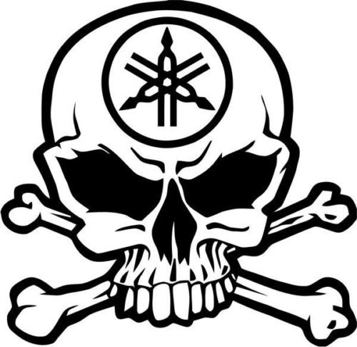 (Yamaha Motorcycle Racing Skull Crossbones Car Truck Windows Decor Decal Sticker - Die cut vinyl decal for windows, cars, trucks, tool boxes, laptops, MacBook - virtually any hard, smooth surface)