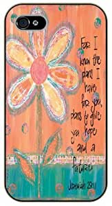 iPhone 4 / 4s Bible Verse - Vintage floral. For I know the plans I have for you. Plans to give you hope and a future. Jeremiah 29:11 - black plastic case / Verses, Inspirational and Motivational