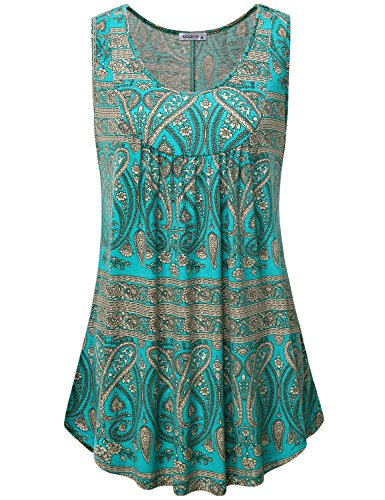 Women Fashion 2018,Ladies Sleeveless Summer Tops Trendy Bohemian Pleated Draped Flowy Tank Tops Loose Fit Paisley Pattern Swing Tunics for Leggings Multicoloured Green Large ()