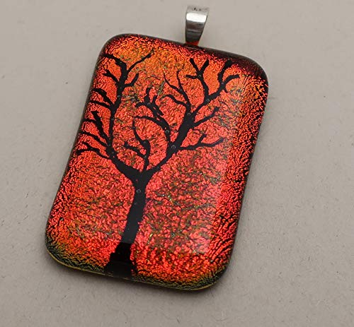 Sterling Silver Orange Red finely engraved Tree of Life fused dichroic glass pendant