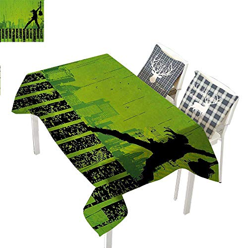 (WilliamsDecor Popstar Party tablecloths Party Decorations Music in The City Theme Singer with Electric Guitar on Grunge BackdropLime Green Black Rectangular Tablecloth W52 xL70)