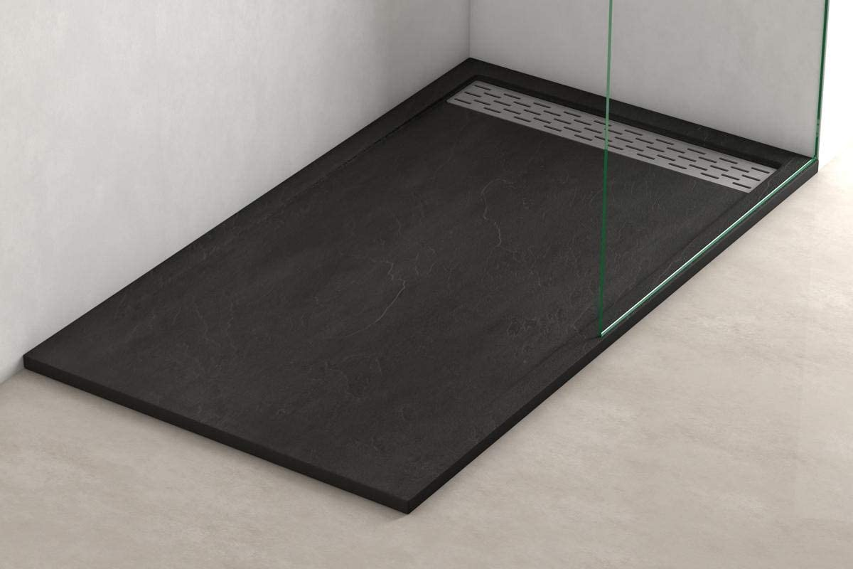 Plato ducha resina antideslizante textura pizarra Lane Bricodomo 80x140 Gris
