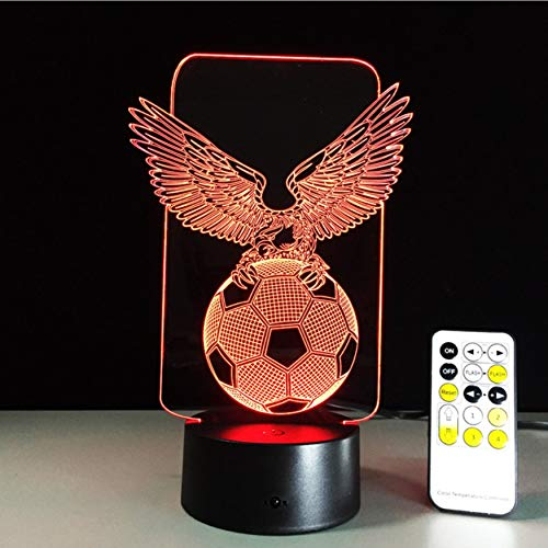 Football Eagle Shaped 3D Night Light Hologram Led Lamp Touch Sensor for Sports Fans Best Gift 7 Color Changing Lamp