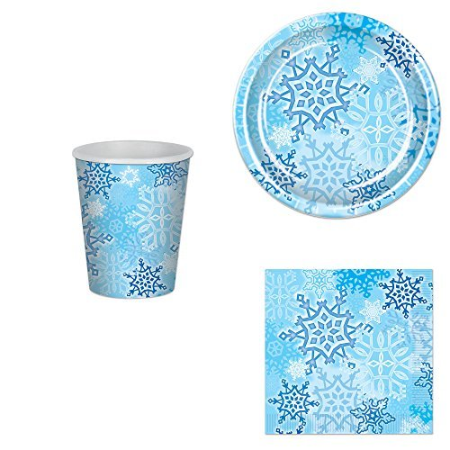 Snowflake Party Bundle for 16: Plates, Napkins and Cups -