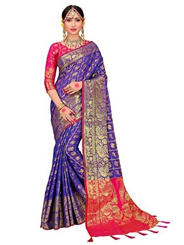 ELINA FASHION Sarees for Women Patola Art Silk Woven Work Saree l Indian Bollywood Wedding Ethnic Sari with Blouse Piece (Purple)
