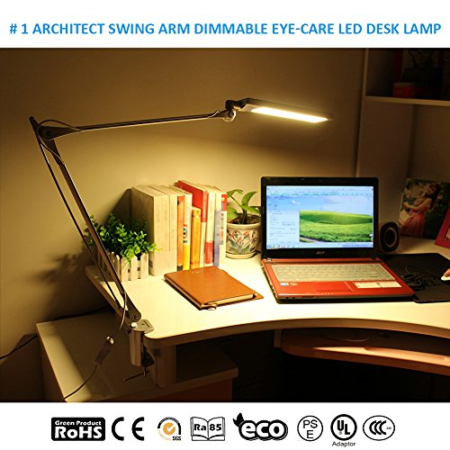 BYB E430 Metal Architect LED Desk Lamp, Swing Arm Task Lamp with Clamp, Eye-Care Drafting Table Lamp, Dimmable Office Light, 4 Lighting Modes, 6 Level Dimmer, Touch Control, Memory Function, Silver