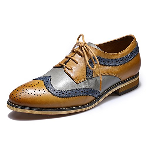 Mona flying Womens Leather Perforated Lace-up Brogue Wingtip Derby Saddle Oxfords Shoes for Womens ladis Girls -