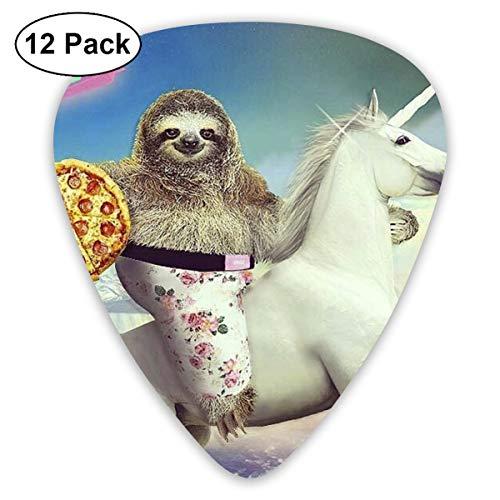 351 Wall - 351 Shape Classic Guitar Picks Sloth Riding A Unicorn Plectrums Instrument Standard Bass 12 Pack