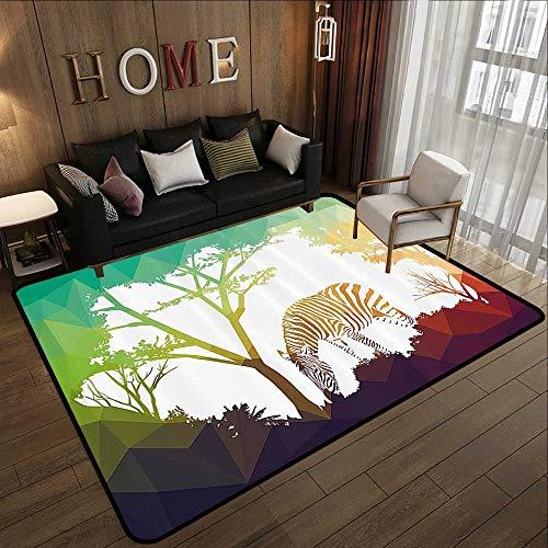 Printed Carpet,Wildlife Decor,Digital Zebra Figure in Fractal Display Vivid Colors A Look at Kenya Illustration,Multi 47