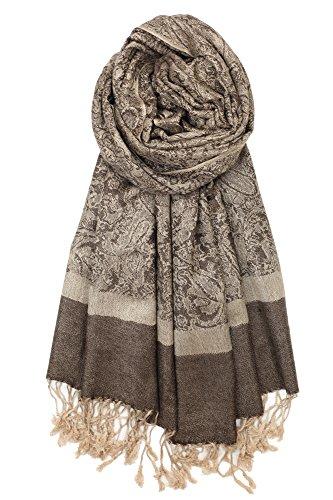 Achillea Two Tone Vintage Jacquard Paisley Pashmina Shawl Wrap Scarf (Tan - Sweater Cashmere Wrap