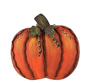 Metal Flat Swirled Pumpkin Decor Fall Harvest Thanksgiving Decor Free Standing Pumpkin Decoration (Small)