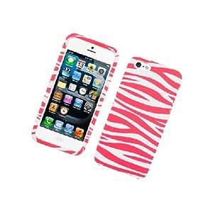 Apple iPhone 5 Pink White Zebra Stripe Flex Cover Case