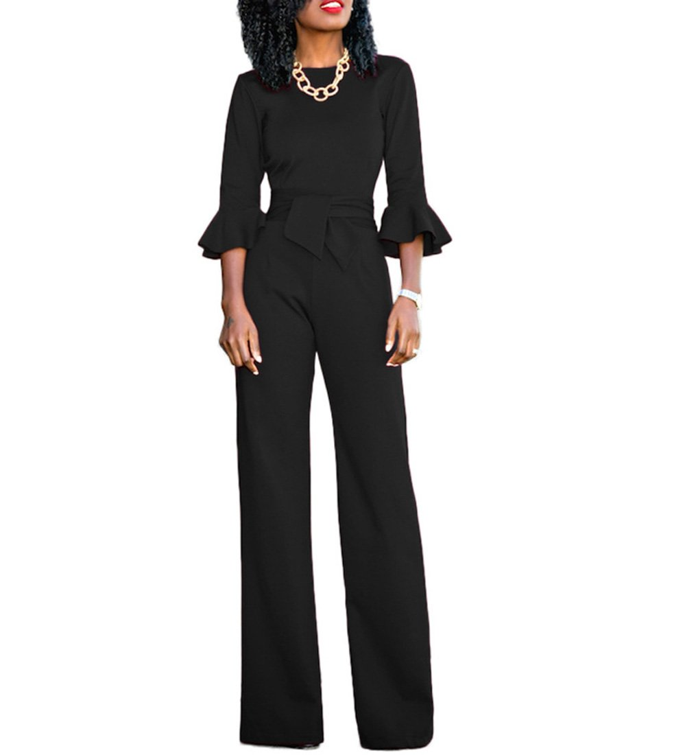 Chic-Lover Womens Solid Flare Sleeves Wide Leg Long Pants Jumpsuits Romper with Belt Black L