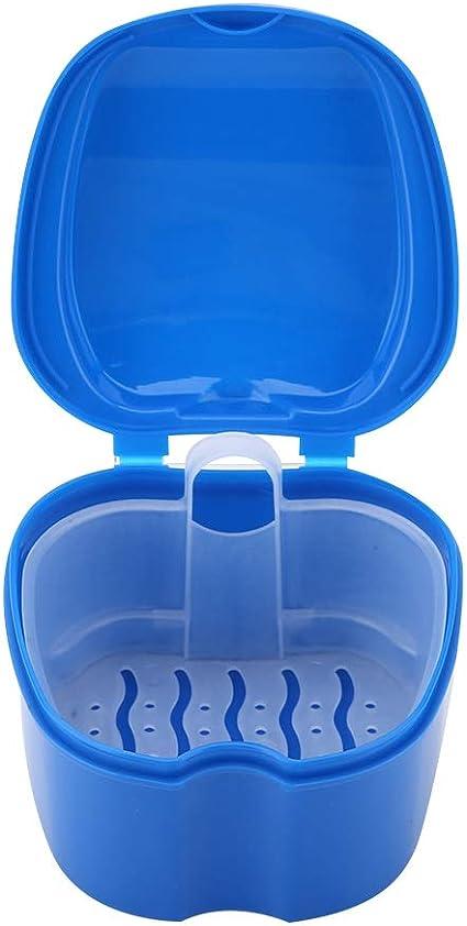 Estuche para dentaduras postizas, postizas y caja de almacenamiento Estuche para cajas de almacenaje para dentaduras postizas con dispositivo de pantalla de filtro Dispositivo de dientes(azul oscuro): Amazon.es: Belleza