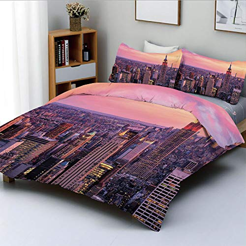 Duplex Print Duvet Cover Set Twin Size,New York