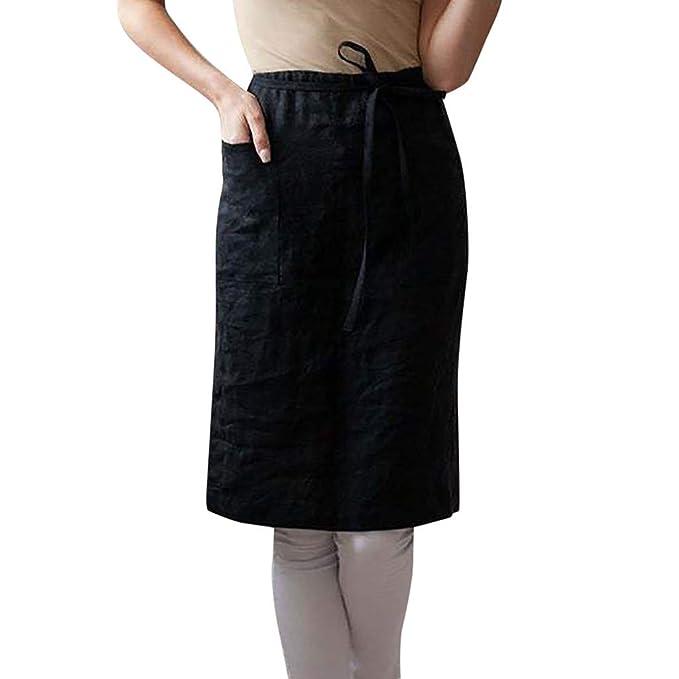 Lazzboy Vestido de Verano Moda para Mujer Algodón Lino Color ...