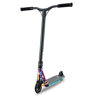 Xspec Rainbow Neo Chrome Pro Stunt Kick Scooter, Unique Oil Slick Anodized Design, BMX Handlebars w/Reinforced Aluminium Wheels and Fork: Sports & Outdoors