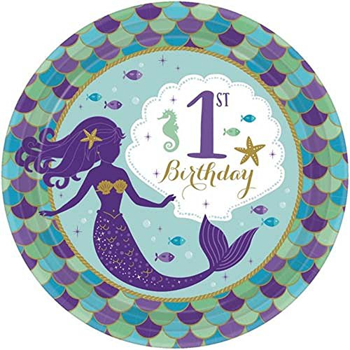 Mermaid 'Mermaid Wishes' 1st Birthday Small Paper Plates (8ct) (Best Wishes For First Birthday)