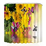 Kimloog Printing Waterproof Personality Fabric Bathroom Shower Curtains 59 71 Inch Window Curtains Door Curtain Built-in Set Tool (Yellow, 59x71 Inch)