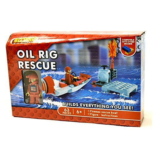 BLOKKO (TM) Construction Block Kit - Bricks Are Compatible With the Leading Brand – Stocking Stuffer - 63 Pieces – Oil Rig Rescue (Rescue Space Set Figure)