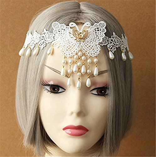 White Lace Pearl Butterfly Flower Hair Band Tiara Forehead Frontlet Browband Headpiece/headdress