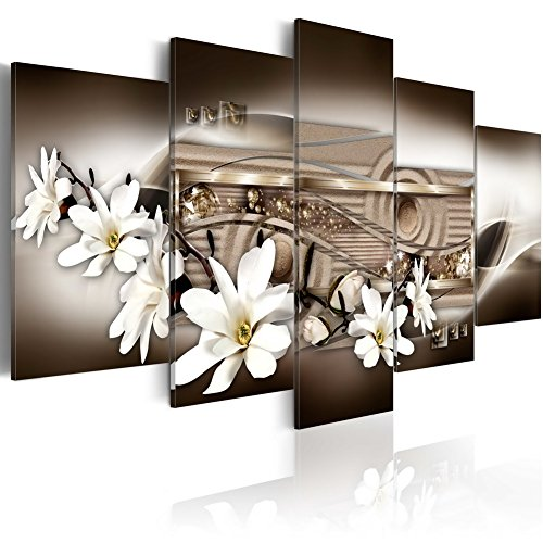 Large Contemporary Magnolia Flower Canvas Print Wall Art White Floral Painting Modern Picture Decor Vibrant HD Fashion Artwork Decoration Framed and Stretched (60