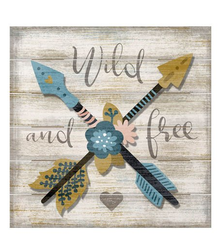 American Woodcrafters Wild & Free Arrow Slatted Pallet Wood Sign with 3D Accent Piece Wall Decor (Wall Center Raised)