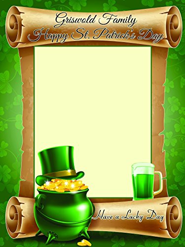 Custom Home Decor St. Patrick's Day Theme Photo Booth Prop - Size 36x24, 48x36; Personalized Lucky Irish Shamrock, Green Beer & Pot-O-Gold Photo Frame, Handmade DIY Party Supply Photo Booth - Ireland Frames Glasses