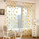ZWB Beautiful Sunflower Pattern Window Treatment Lovely Flower Print Sheer Curtains Elegance Voile Tulle Screens Panels for Living Room Children Kids Room Rod Pocket Process 1 Panel W39 x L96 Inch