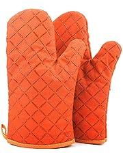 ATUIO - rękawice kuchenne, odporne na wysokie temperatury, pogrubione rękawiczki, do pieczenia [1 para], rękawice kuchenne z bawełny do kuchni, gotowania, pieczenia, grillowania [pomarańczowe]Kitchenaid Kitchen Aid Gingham Mini Oven Mitt Set, 14 x 20 cm, Milkshake