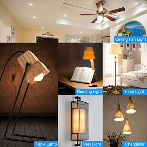 Comzler A15 LED Bulbs 60W Equivalent, Warm White 2700K,E12 Small Base LED Round Light Bulb for Ceiling Fan, No Dimmable,6 Pack