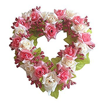 (TOOGOO(R) Heart Shaped Artificial Flower Wreath Door Decoration Hanging Wreaths with Silk Ribbon for Wedding Decoration(pink) 22x21x3.5cm)