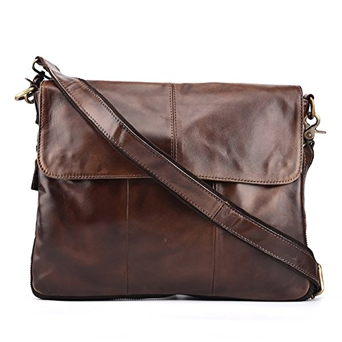 Price comparison product image Minz Business Shoulder Bag First Layer Of Wax Leather Cowhide Leather Crossbody Bags Messenger Bag Briefcase Large-Capacity Retro