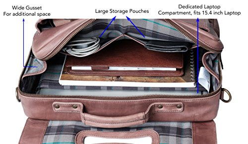 Genuine Leather Messenger Laptop Bag/Briefcase for Men, LOGAN, fits 15.4 inch Laptop, adjustable strap, 16 inch by 12 inch by 4 inch (Chestnut) by Ladderback by Ladderback (Image #4)