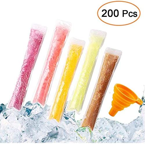 200 PCS Pop Bags Pop Mold Bags Popsicle Pouches Popsicle Molds Bags BPA Free Ice Pop Pouch with A Funnel for Yogurt, Ice Candy, Ice cream Party Favors