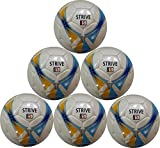 Strive Hand-Stitched Soccer Ball (Yellow, Blue, and Silver Pattern) Size 5 - Six Pack