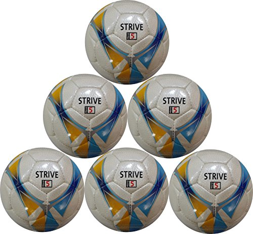Strive Hand-Stitched Soccer Ball (Yellow, Blue, and Silver Pattern) Size 5 - Six Pack by Best Soccer Buys