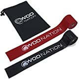 WOD Nation Muscle Floss Bands by Recovery Band for Tack and Flossing Sore Muscles and Increasing Mobility - Stretch Band Includes Carrying Case (1 Black & 1 Red)