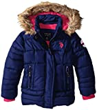 U.S. Polo Assn. Girls' Faux Fur Trimmed Hooded Bubble Jacket