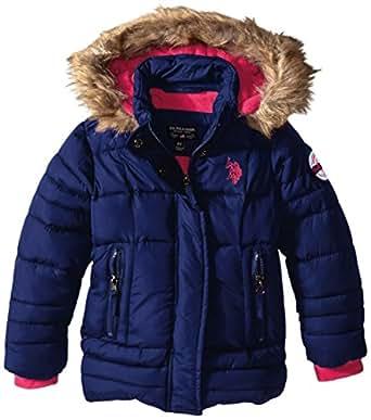 Amazon.com: U.S. Polo Assn. Girls' Faux Fur Trimmed Hooded ...