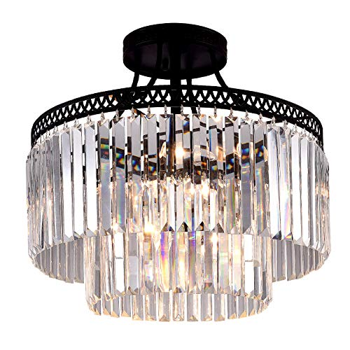 Lighting Fixture- 7 Lights Luxury Modern/Contemporary Crystal Prism Chandelier with 2 Tiers Ceiling Light Pendant Light for Dining Room, Living Room ()