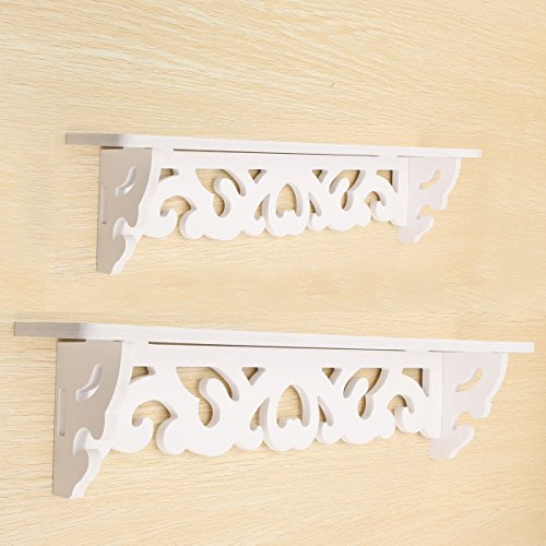 Yosoo 1 Pair White Wooden Chic Filigree Style Decorative Floating Wall Shelf, CutOut Design Shelves (1 Pair Large+Small)