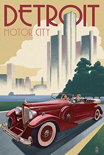 Detroit, Michigan - Vintage Car and Skyline (12x18