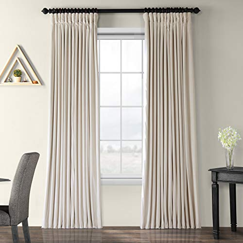 Half Price Drapes VPCH-VET1217-96 Signature Doublewide Blackout Velvet Curtain, Ivory, 100 X 96 (Ivory Curtain Pole)